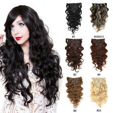 "Remy Real Clip in Body Wave Human Hair Extensions Full Head 7Pcs 16"" 70g/Set"