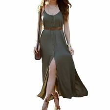 Women Summer Wear V-Neck Sleeveless Spaghetti Strap Maxi Long Dress