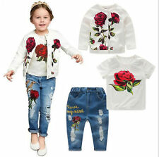 3pc Fashion Kids Baby Girls Rose Flower Coat + T-Shirt + Jeans Pants Clothes Set