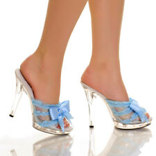 5'' Heel Satin Blow .5'' Platform Mule by The Highest Heel