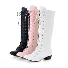 New Womens Block Med Heel Knee High Boots Lace Up Boots Shoes Ridding Booties
