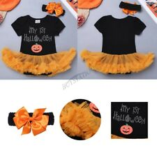 Infant Girl Baby Pumpkin Romper Tutu Dress Tulle Skirt Halloween Outfit Costume