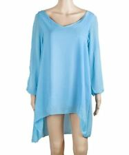 Light Blue Color V-Neck Long Sleeve Chiffon Fabric Above Knee Dress for Women