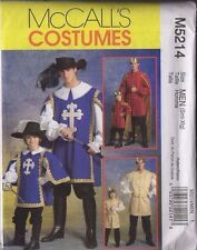 2006 OOP  MCCALL'S COSTUME PATTERN M5214 MEN S M L XLG / KIDS 3-4 5-6 7-8 PRINCE