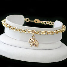 """ALL SIZES 9""""-14"""" - 4.5mm BELCHER Link LUCKY ELEPHANT CHARM 14k Gold EP Anklet"""