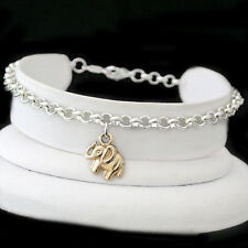 """ALL SIZES 9""""-14"""" - 4.5mm BELCHER Link LUCKY ELEPHANT CHARM 2-TONE Gold EP Anklet"""