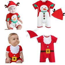 Newborn Baby Boys Girls Romper Jumpsuit Hat Outfit Set Christmas Xmas Clothes