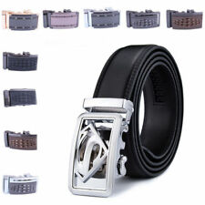 Mens Decent silver Automatic Buckle Belt Genuine leather Strap Waistband Stylish