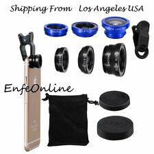 Black/Blue 3 In1 Clip-on Fish Eye+Macro+Wide Angle Lens Camera For Cell Phone