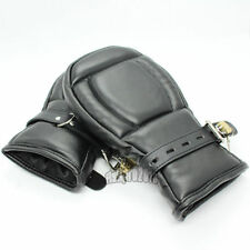 Deluxe Leather Lockable Gloves Padded Lined Fist Mitts Wrist Restraints Mittens