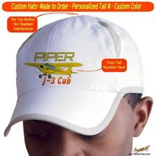Piper J-3 Cub Custom Cap Airplane Pilot Hat - Personalized with Your N#