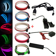 3.28ft LED Flexible Neon Glow EL Wire Tape Strip For Xmas Party Deco+ Controller