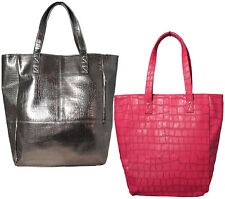 Womens Handbag Ladies Large Shoulder Bag Shopping Tote Croc Print Pink/Mink
