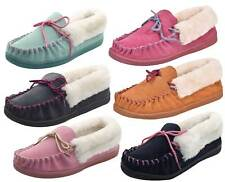 Womens Orkney Suede Moccasin Faux Fur Lined Soft Warm Slippers Mules Shoes