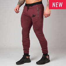 NEW UNISEX - Muscle Nation Fit Tapered Bottoms - BURGUNDY Gym Sport