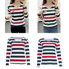 Spring Autumn Women Student Stripe T-shirt Casual Long Sleeve Tops Blouse