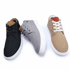 Fashion Men British Lace Up Solid Color High Top Hiking Shoes Canvas Skate Shoes