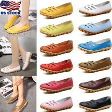 Womens Casual Hollow Out Flat Low Heel Slip On Soft Leather Flat Shoes Shoes USA