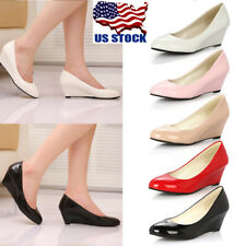 US Women Round Toe High Heel Platform Wedge Pumps Shoes Ladies Office Shoes Size