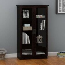 Storage Bookcase Cabinet w/ 4 Shelves Glass Doors Wood Composite Furniture New
