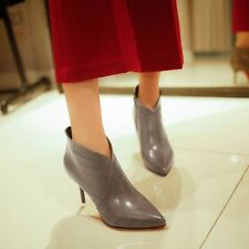 Women Grey Color Pu Leather Thin High Heels Winter Wear Boots