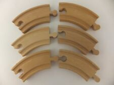 "6 Short Curved Wood Train Track 3"" Tracks Fits Brio + Thomas Friends"