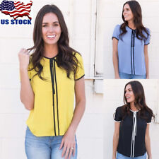 US Women's Short Sleeve T shirt Simple Classic Strappy Office Ladies Blouse Tops
