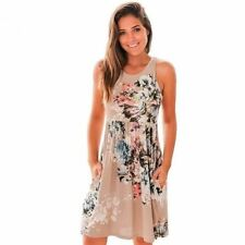 Floral Print Pattern Summer Sleeveless O Neck Casual Mini Dress For Women