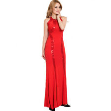Women Red Sequined Long Cutout Prom Dress Halterneck Bridesmaid Dress Party Gown