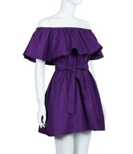 Women Off Shoulder With Bow Belt Loose Cotton Dress St0577