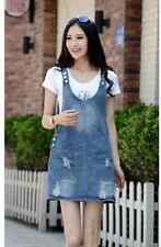 Women Denim Cotton Multi-pocket Strap Sundress Large Size Dress St0617