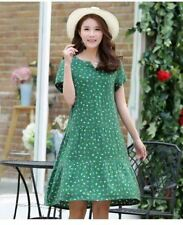 Women Green Color Printed V-Neck Short Sleeve Knee-length Dress Plus Size