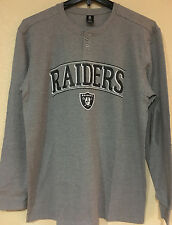 Oakland RAIDERS Men's Henley Thermal long sleeves Top Gray Color - NFL Licensed