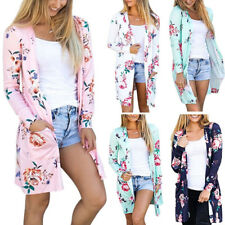 Womens Flora Printed Long Sleeve Cardigan Jacket Tops Casual Coat Blouse Outwear