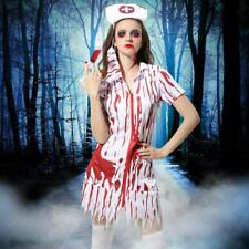 Halloween Bloody Nurse Costume Horror Zombie Dress Cap Mask Fancy Dress Up