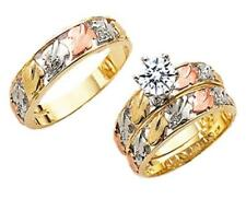 GOLD HIS & HER 10KT SOLID YELLOW GOLD TRIO CZ WEDDING RING BAND SET SIZES 5-13