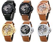 Mens Fashion Casual Leather Automatic Self wind Gents Mechanical Wristwatch