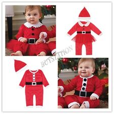 Xmas Baby Boy Girls Christmas Santa Claus Costume Romper Hat Outfit Set Gift