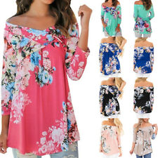 New Womens Off Shoulder Floral 3/4 Long Sleeve Tops Casual Loose Blouse  T Shirt