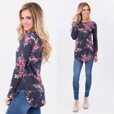 Fashion Womens Casual Long Sleeve T Shirt Floral Summer Loose Tops Blouse S-XL
