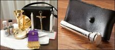 MASS PRIEST KIT CATHOLIC GOLD PLATE CHALICE PATEN CRUCIFIX HOLY WATER SPRINKLER