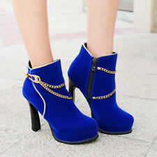 Womens Metal Decor Platform High Heel Round Toe Party Shoes Suede Ankle Boots SZ