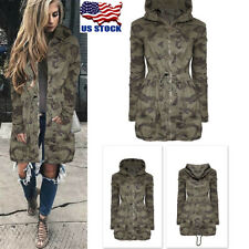Womens Casual Long Hooded Coat Jacket Loose Parka Zipper Army Camouflage Outwear