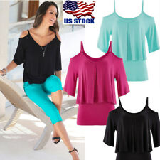 Plus Size Womens Cold Shoulder V Neck Strappy Top Short Sleeve Blouse T-Shirt US