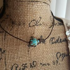 LEATHER & PEARL BRACELET OR CHOKER SET WITH TURQUOISE OR WHITE HOWLITE TURTLE