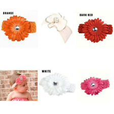 Cotton Diamond Daisy Flower Soft Elasticated Crochet Headband For Baby Girl