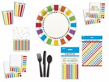 Rainbow Birthday Party Kit Plates Napkins Cups Tablecover Party Bags Invites