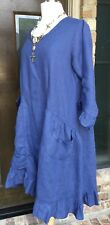 Sassy Rags 3/4 sleeve ladies blue royal linen Kelsey tunic dress