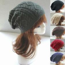 Mens Ladies Knitted Woolly Winter Oversized Slouch Beanie Hat Cap skateboard LB