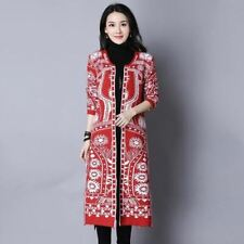 New Fashion Cotton Fabric Plus Size Vintage Printed Casual Cardigan For Women